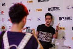 BANGKOK - 19 DE FEBRERO DE 2014: MTV sale la rueda de prensa llevada a cabo en Ce Fotografía de archivo libre de regalías