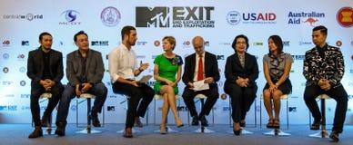 BANGKOK - 19 DE FEBRERO DE 2013: MTV sale la rueda de prensa llevada a cabo en Ce Imagenes de archivo