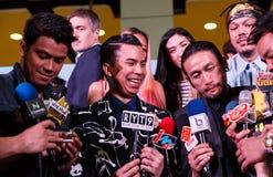 BANGKOK - 19 DE FEBRERO DE 2014: MTV sale la rueda de prensa llevada a cabo en Ce Imagen de archivo libre de regalías