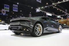 Bangkok - 31 de marzo: Lamborghini huracan en el coche negro en el 37.o salón del automóvil internacional 2016 de Bangkok Tailand Imagen de archivo libre de regalías