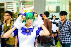 Una actitud cosplay del animado japonés no identificado. Fotografía de archivo