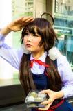 Una actitud cosplay del animado japonés no identificado. Foto de archivo
