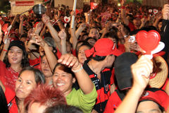 BANGKOK - DEC 10: Röd skjortaprotestdemonstration - Thailand Royaltyfri Fotografi