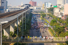 BANGKOK-DEC 22: Unidentified Thai protesters all around Bangkok Royalty Free Stock Photo