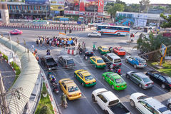 BANGKOK - DEC 23: Daily traffic jam in the afternoon on dec 23, Royalty Free Stock Photography