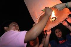 BANGKOK - DEC 5: King's Birthday Celebration - Thailand 2010. BANGKOK - DEC 5: Burning Lantern at the King's Birthday Celebration - Bangkok, Thailand 5th Royalty Free Stock Photography