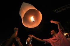 BANGKOK - DEC 5: King's Birthday Celebration - Thailand 2010. BANGKOK - DEC 5: Burning Lantern at the King's Birthday Celebration - Bangkok, Thailand 5th Royalty Free Stock Image
