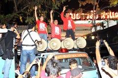 BANGKOK - 10 DEC: De rode Demonstratie van het Protest van Overhemden - Thailand Royalty-vrije Stock Foto's