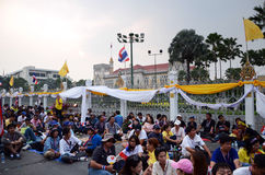 BANGKOK - DEC 9 : protesters attend a large anti-government outside Government House Royalty Free Stock Photo