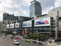 Central World mall in Bangkok. BANGKOK - DECEMBER 13, 2017: Central World mall facade with iPhone X advertisement boards. Central World is the tenth largest Royalty Free Stock Photo
