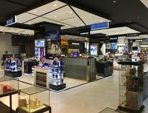 Cosmetic boutiques in Central World mall, Bangkok. BANGKOK - DECEMBER, 2017: Cosmetic boutiques in Central World mall. Central World is the tenth largest Royalty Free Stock Photos