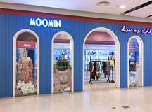 Moomin store in Central World mall, Bangkok. BANGKOK - DECEMBER 13, 2017: Moomin store in Central World mall. The Moomins are the central characters in a series Royalty Free Stock Images