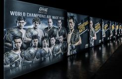 The Picture of Champion on side walk in One Championship 'Warrior of The World' royalty free stock image