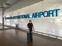 Don Mueang International Airport, Bangkok. BANGKOK - DECEMBER 2017: The sign `Don Mueang International Airport` inside the airport of the same name. In 2015 Don Royalty Free Stock Photography