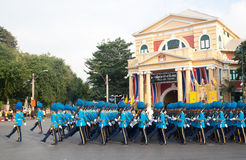 BANGKOK - DECEMBER 2 : Thai royal guard military during the king Stock Photos