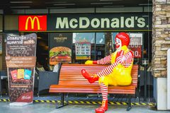 BANGKOK - 14 DICEMBRE: ronald-mcdonald al ristorante del ` s di McDonald il 14 dicembre 2017 Fotografie Stock Libere da Diritti