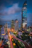 Bangkok downtown and business financial district of Thailand, Twilight scene. Bangkok downtown and business financial district of Thailand., Twilight scene stock photo