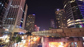Bangkok downtown busy traffic, time lapse at night Stock Photos