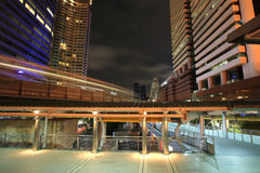 Bangkok downtown with motion on elevated train Stock Image