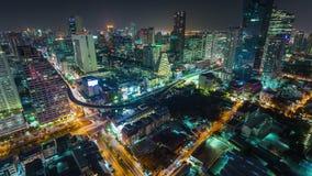 Bangkok downtown night illumination roof traffic street 4k time lapse thailand stock video footage