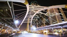 Bangkok city at night, Sathorn bridge intersection (Bangkok Landmark) stock footage