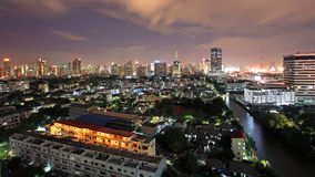 Bangkok downtown skyline near the canal at twilight Stock Photo