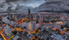 Bangkok at dusk. With main river Royalty Free Stock Photography