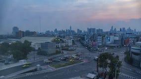 Bangkok dzień nocy linia horyzontu Widok z lotu ptaka ruch drogowy Bangkok Hua Lamphong kolej zbiory