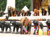 Bangkok, elephants on religious shrine. Religious shrine near central world plaza with many elephants Royalty Free Stock Photo