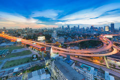 Bangkok elevated road junction and interchangeElevated road junction and interchange with City background Royalty Free Stock Images