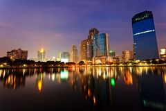 Bangkok in evening, reflection of buildings in water Stock Photo