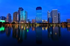 Bangkok in evening, reflection of buildings in water Stock Image