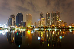 Bangkok in evening, reflection of buildings in water Royalty Free Stock Images