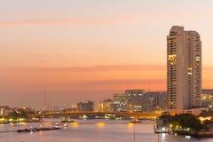 Bangkok evening and rivers Royalty Free Stock Image