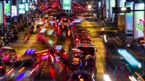 Bangkok evening traffic time lapse. Colorful Bangkok evening traffic zoom in time lapse stock video