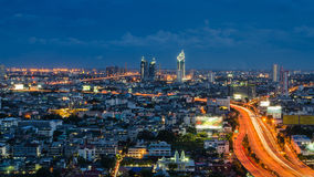 Bangkok express way at twilight time Royalty Free Stock Images