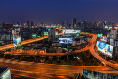 Bangkok expressway at dusk Royalty Free Stock Images
