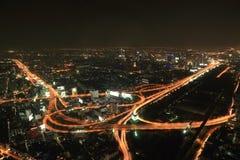 Bangkok Expressway and Highway top view at night Royalty Free Stock Images