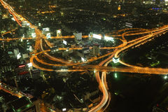 Bangkok Expressway and Highway top view at night Royalty Free Stock Photos