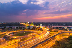 Bangkok expressway at sunset, Thailand. Bangkok expressways at sunset, Thailand Royalty Free Stock Photography