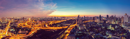 Bangkok Expressway top view in panorama at sunrise, Thailand. Royalty Free Stock Image