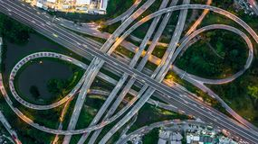 Bangkok Expressway top view, Top view over the highway,expressway and motorway at night, Aerial view interchange of a city, Shot. From drone, Expressway is an stock images