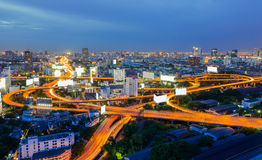 Bangkok Expressways at twilight time Stock Photography