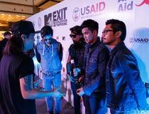 BANGKOK - 19 FÉVRIER 2014 : MTV sortent la conférence de presse tenue en ce Images libres de droits