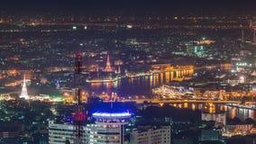 Bangkok famous night light river temple panorama 4k time lapse thailand stock footage