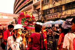 "Bangkok, 16 Februari, grootste Chinese het Nieuwjaarviering van 2018 †""Thailand in de Chinatown van Bangkok op Yaowarat-Road royalty-vrije stock foto"