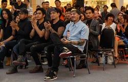 BANGKOK - FEBRUARI 19 2014: MTV utgångspresskonferens som rymms i Ce Royaltyfri Bild