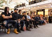 BANGKOK - FEBRUARI 19 2014: MTV utgångspresskonferens som rymms i Ce Royaltyfria Bilder