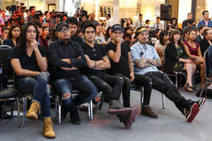 BANGKOK - FEBRUARI 19 2014: MTV utgångspresskonferens som rymms i Ce Arkivfoto