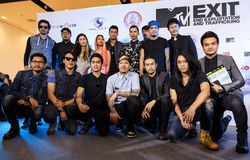 BANGKOK - FEBRUARI 19 2014: MTV utgångspresskonferens som rymms i Ce Arkivbild